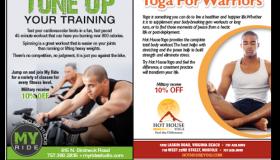 MyRide Cycling Studio / Hot House Yoga print ad
